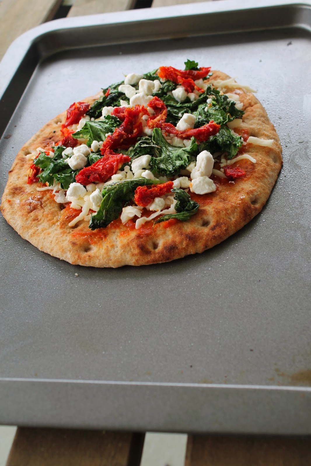 2 Heat Olive Oil Over Medium In A Saute Pan And Cook Kale Until Wilted 3 Top Flatbread With Sauce Cheeses Sun Dried Tomatoes